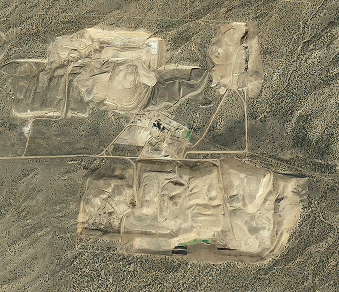 Aerial image of plant and mine, featuring 50+ years of reserves.